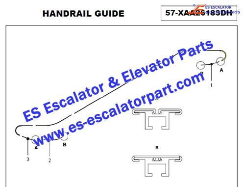 XO-508 curved XAA402TW24 Return side handrail guide track