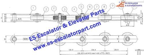 Escalator Parts Step Chain 136.8