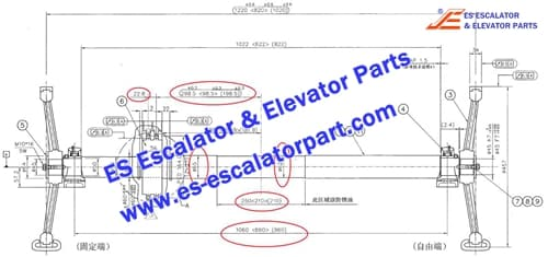 Escalator Parts DSA2000536A Handrail drive shaft