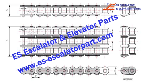 ESThyssenkrupp Escalator Parts Handrail drive chain